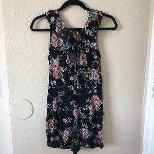 Hype floral romper with pockets and ruffles